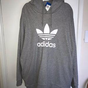 Adidas Gray Hoodie with zipper pockets, XXL